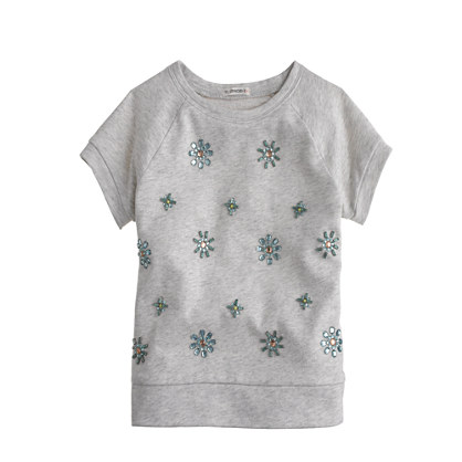 Girls' short-sleeve jeweled sweatshirt