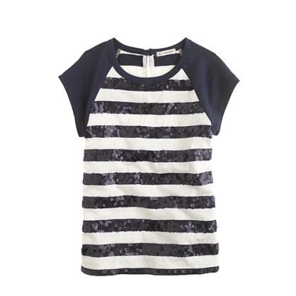 Girls' sequin-stripe raglan tee