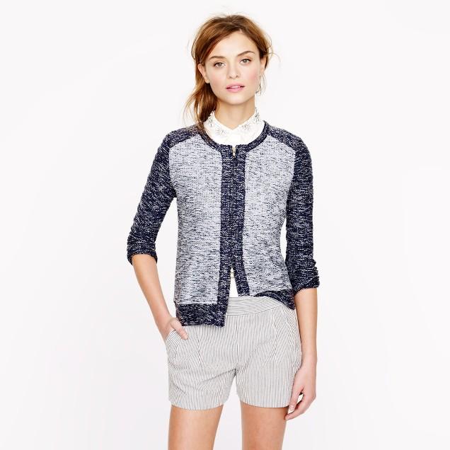 Bouclé jacket in indigo colorblock