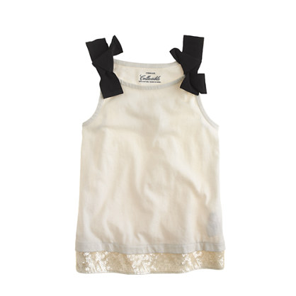 Girls' sequin-hem bow tank