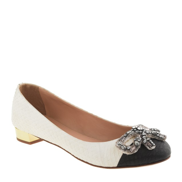 Collection Janey jeweled bow snakeskin flats