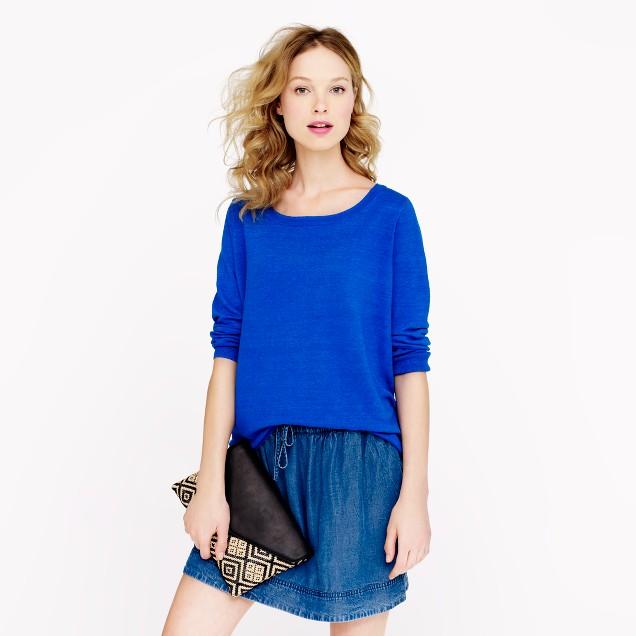 Garment-dyed summerweight linen sweater