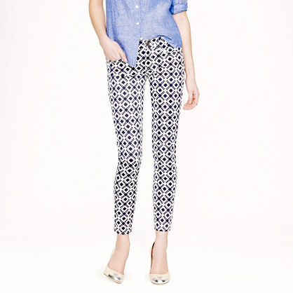 Toothpick jean in geometric print