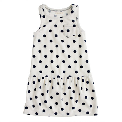 Girls' sleeveless terry dress in dot