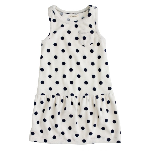 Girls' sleeveless terry dress in dot