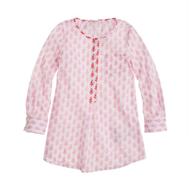 Girls' pocket tunic in thistle print