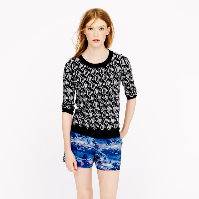 Merino Tippi sweater in school-of-fish print