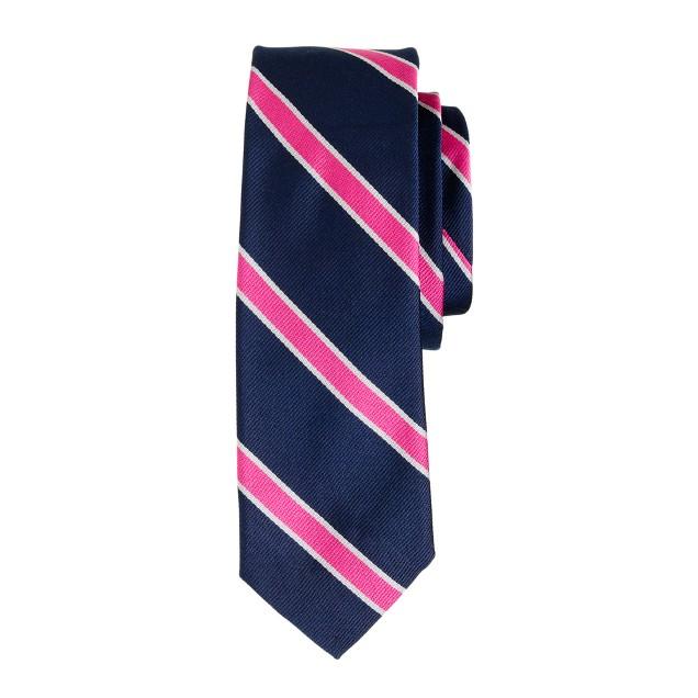 Silk tie in azalea stripe