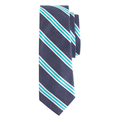 Cotton repp tie in navy stripe
