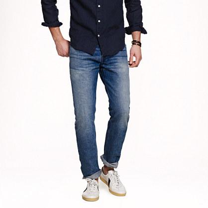 Wallace & Barnes slim selvedge jean in indigo fade wash