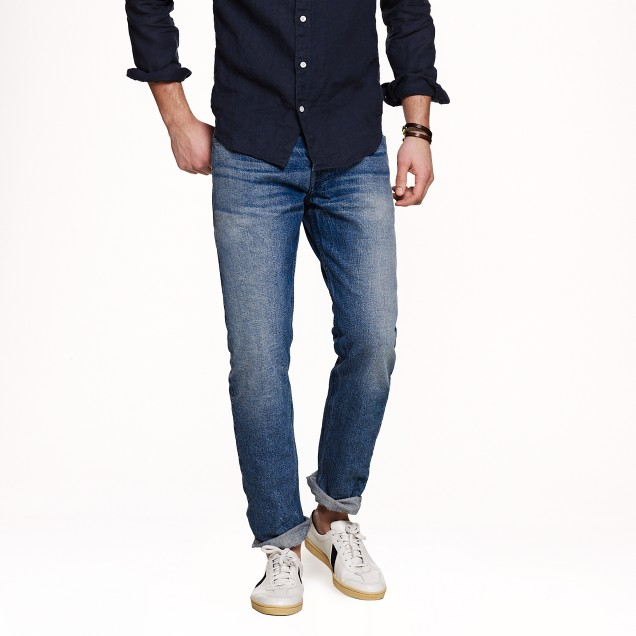 Wallace & Barnes slim selvedge jean in indigo fade wash