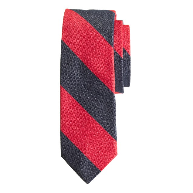 Cotton repp tie in red