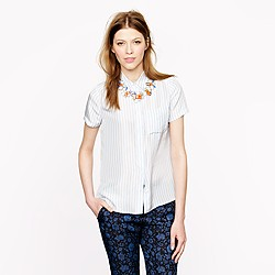 Striped silk short-sleeve shirt
