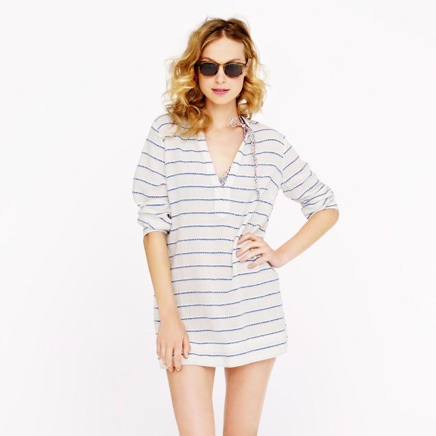 V-neck tunic in wave stripe