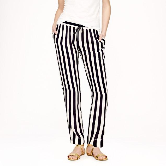 Silk crepe stripe pant