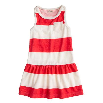 Girls' sleeveless terry dress in stripe