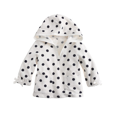 Girls' terry V-neck hoodie in dot