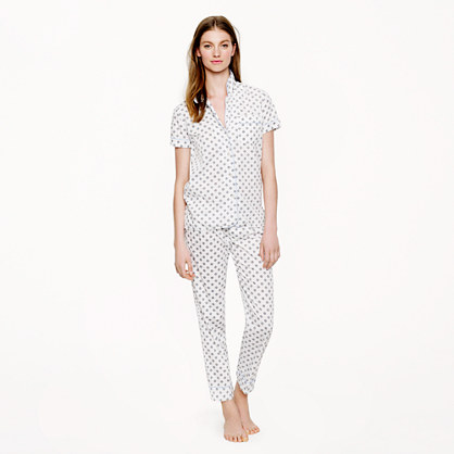 Vintage short-sleeve pajama set in dot foulard