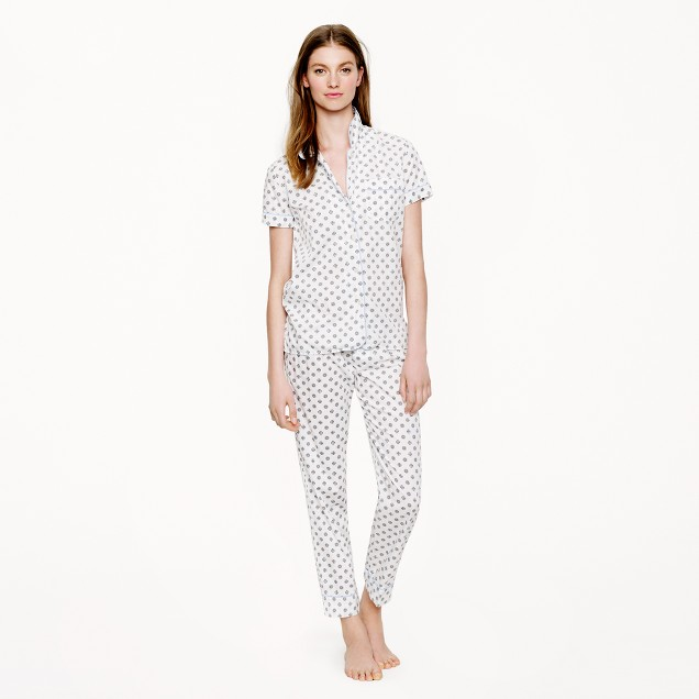 Vintage short-sleeve pajama set in dot foulard
