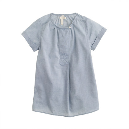 Girls' button tunic in chambray