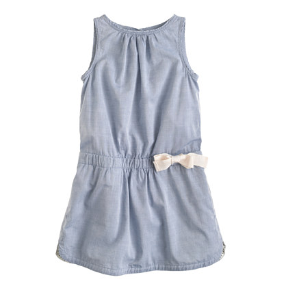 Girls' day dress in chambray
