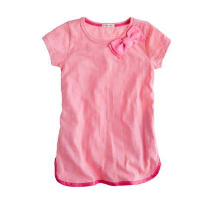 Girls' short-sleeve bow tunic