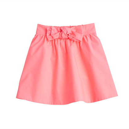 Girls' poplin bow skirt