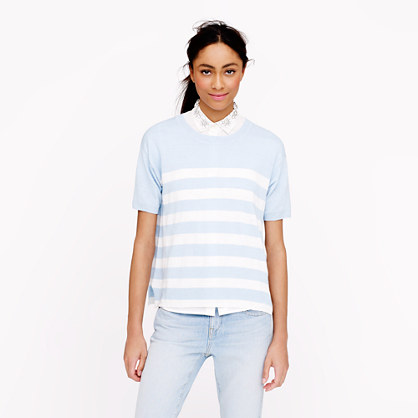 Short-sleeve Linen sweater in stripe