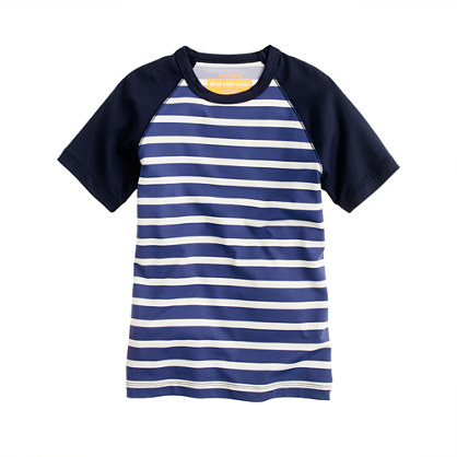 Boys' short-sleeve rash guard in stripe