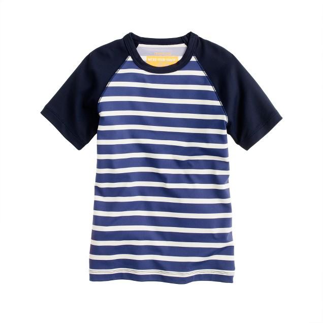 Boys' short-sleeve rash guard in stripe
