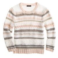 Pointelle stripe sweater
