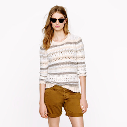 Pointelle stripe sweater