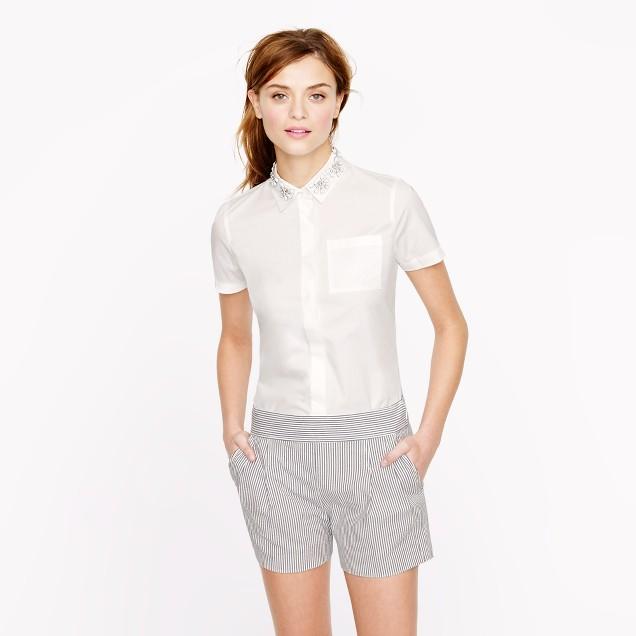 Jeweled-collar short-sleeve shirt