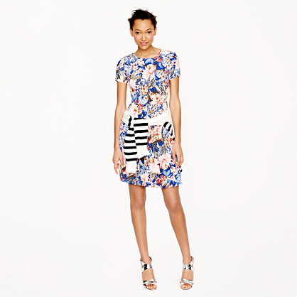 Pleated silk pocket dress in mai tai floral