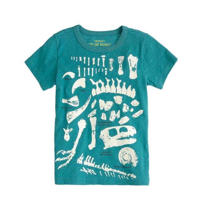 Boys' glow-in-the-dark dinosaur fossils tee