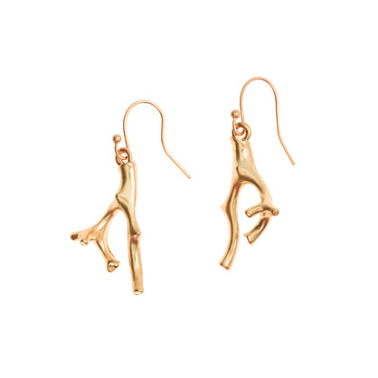 Golden coral earrings