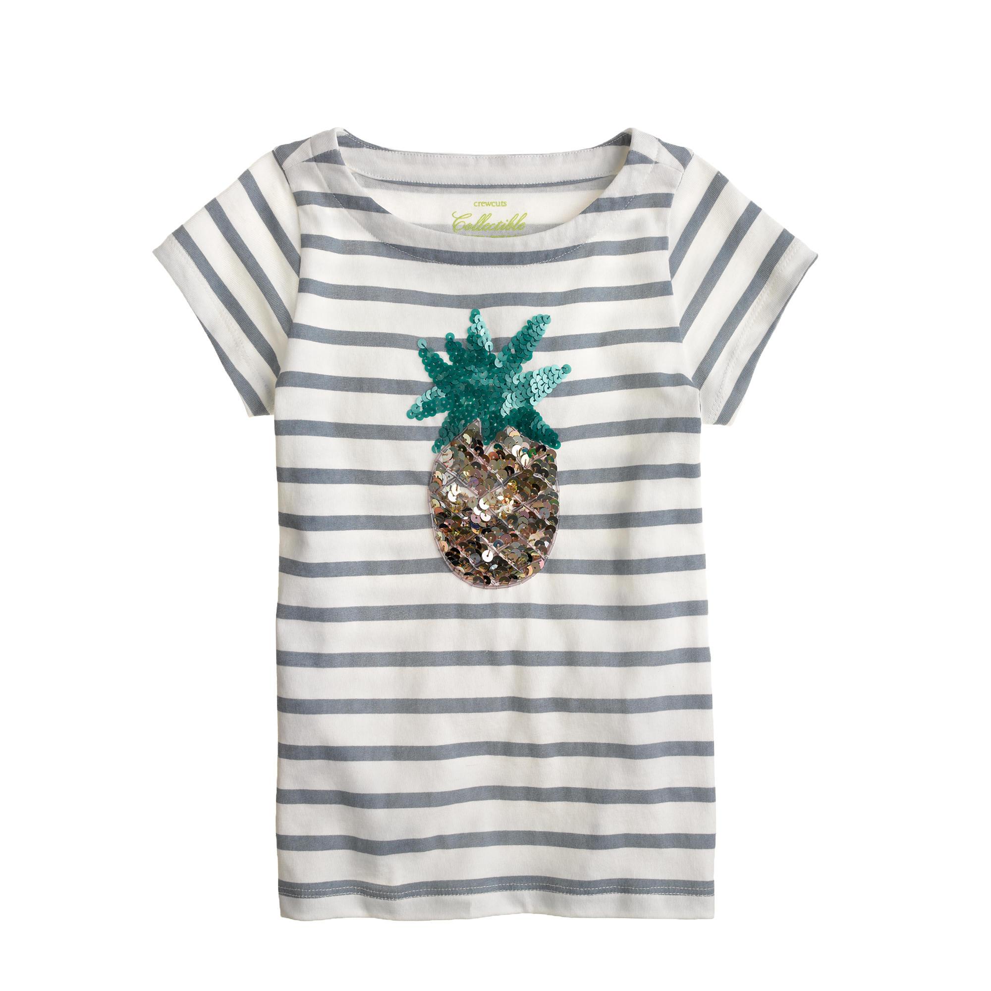 Girls 39 sequin pineapple stripe tee j crew for Sequin t shirt changing