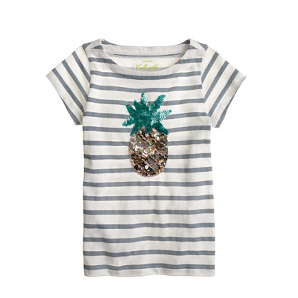 Girls' sequin-pineapple stripe tee