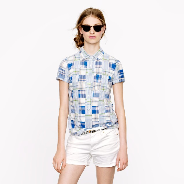 Short-sleeve Indian cotton popover in patchwork plaid