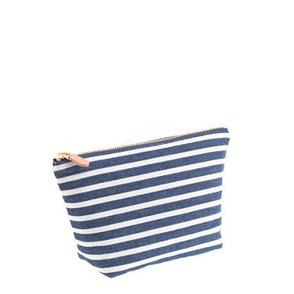 Stripe denim zip pouch