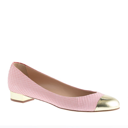 Collection Janey cap toe flats in snakeskin