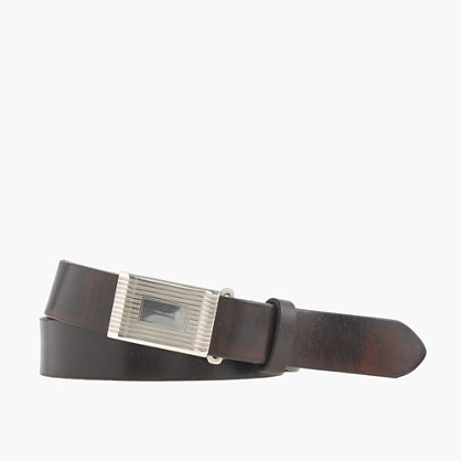 Classic leather belt with removable silver-plated buckle