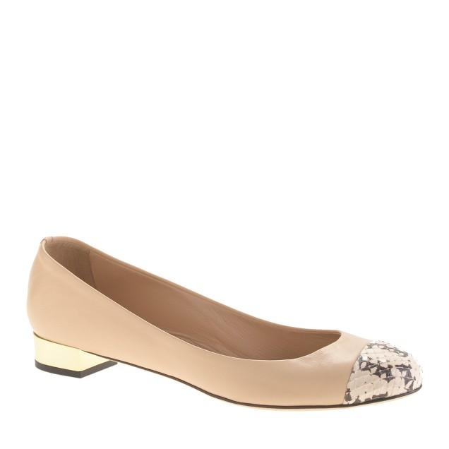 Janey snakeskin cap toe flats