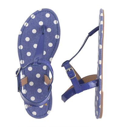 Girls' patent T-strap sandals in polka dot