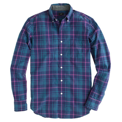 Slim tartan shirt in rustic purple