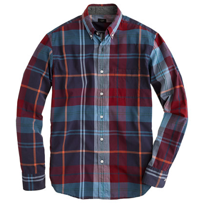 Slim tartan shirt in dark chimney