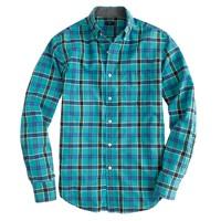 Slim tartan shirt in brunswick blue