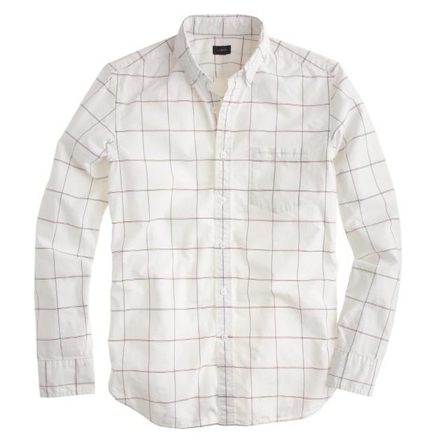 Slim Secret Wash shirt in burgundy check