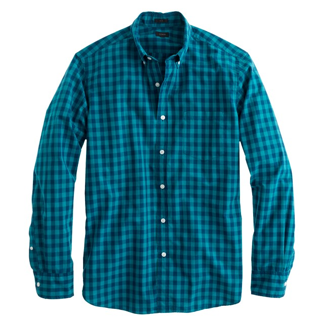 Slim Secret Wash shirt in two-color gingham