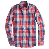 Slim Secret Wash shirt in mineral grey plaid